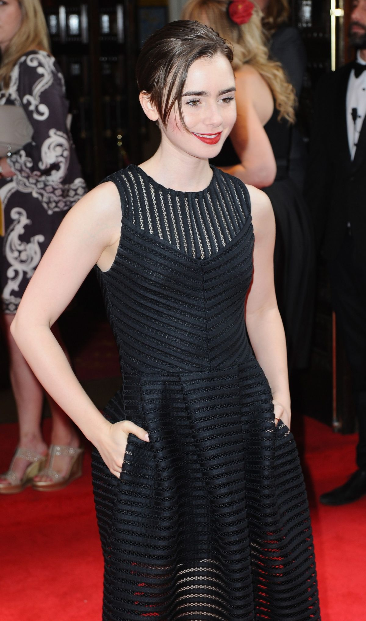 LILY COLLINS at Bend It Like Beckham Press Night in London