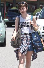 LILY COLLINS Shopping at Whole Foods in West Hollywood 06/07/2015