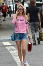 NICKY HILTON in Denim Shorts Out in New ork 06/18/2015