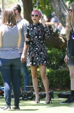 NICOLE RICHIE on the Set of Extra at the Grove 06/08/2015