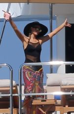 PARIS HILTON at a Boat on Vacations in Ibiza 06/09/2015