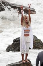 PIA MIA PEREZ on the Set of Do It Again Music Video in Malibu