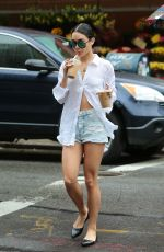 VANESSA HUDGENS in denim Shorts Out and About in New York 06/28/2015