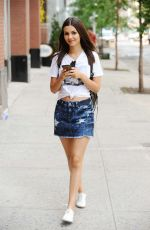 VICTORIA JUSTICE in Jeans Skirt Out in New York 06/11/2015