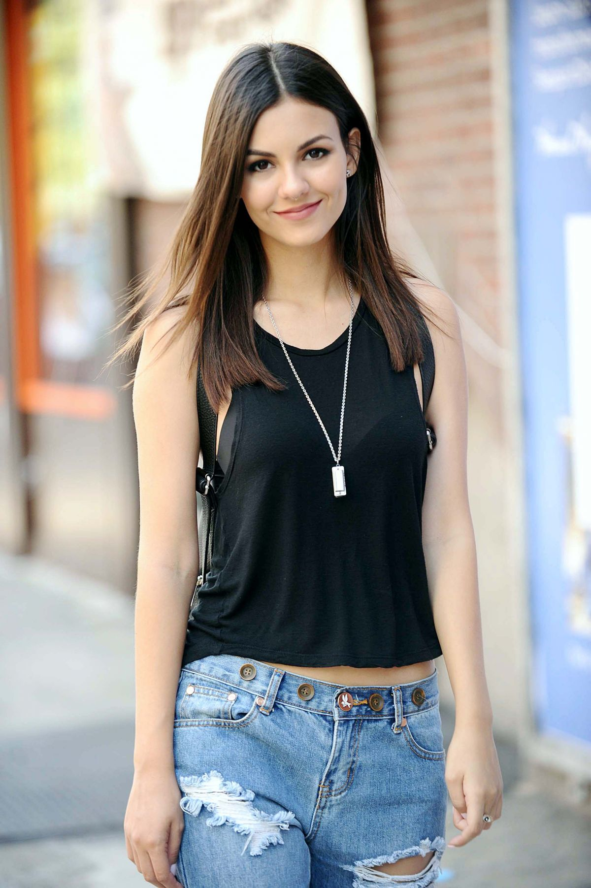 VICTORIA JUSTICE In Ripped Jeans Out And About In New York