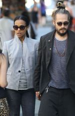 ZOE SALDANA and Marco Perego Out and About in West Hollywood 06/27/2015