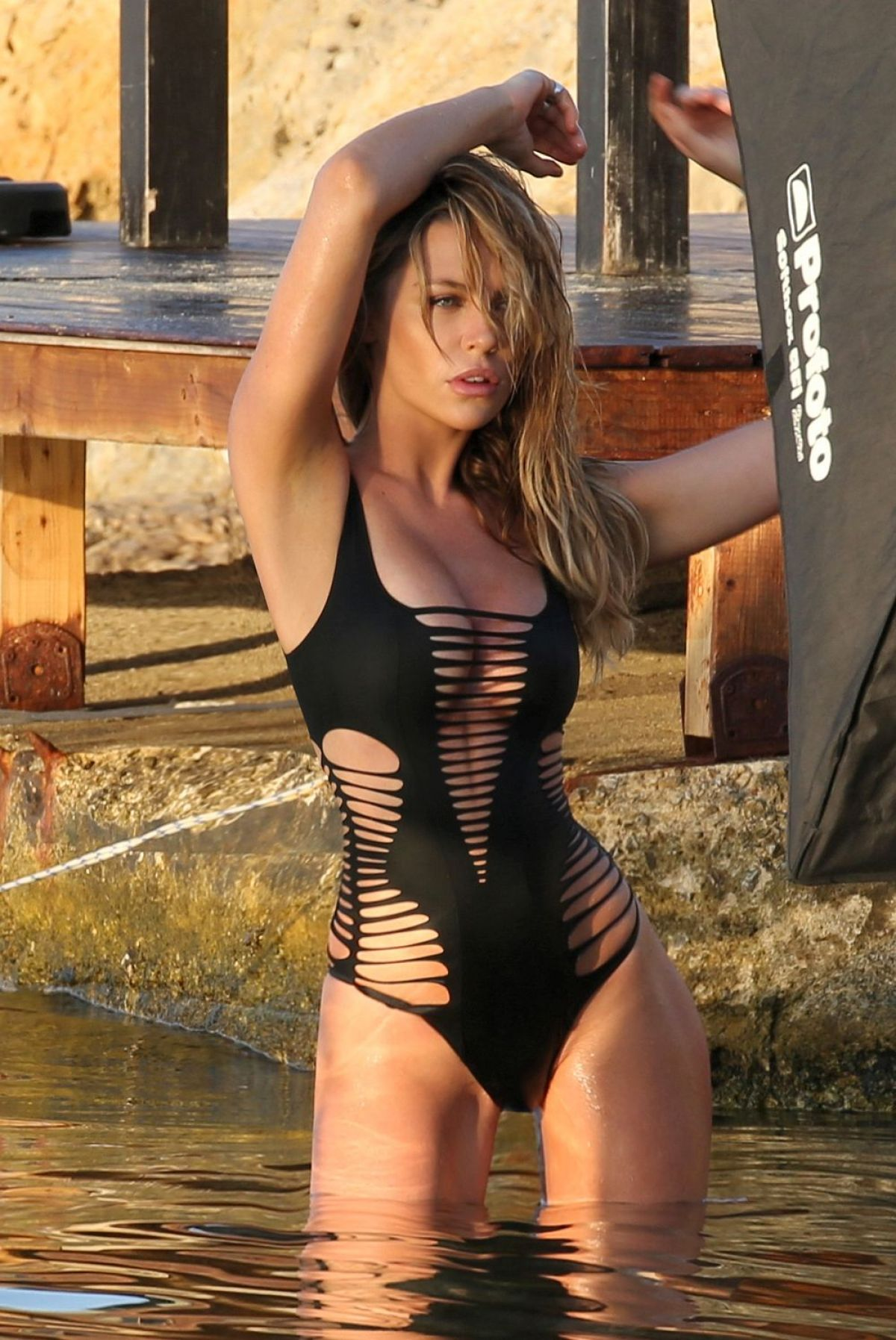 ABIGAIL ABBEY CLANCY in Swimsuit on the Set of a Photoshoot in Majorca 07/24/2015