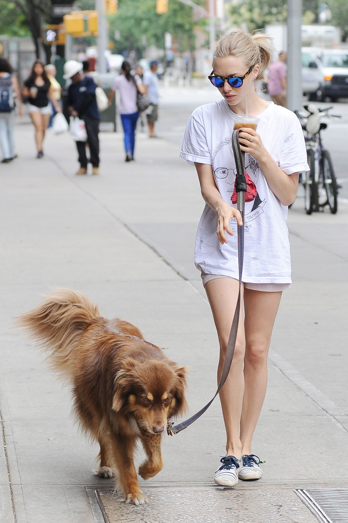 AMANDA SEYFRIED and Her Dog Finn Out in New York 07/30/2015