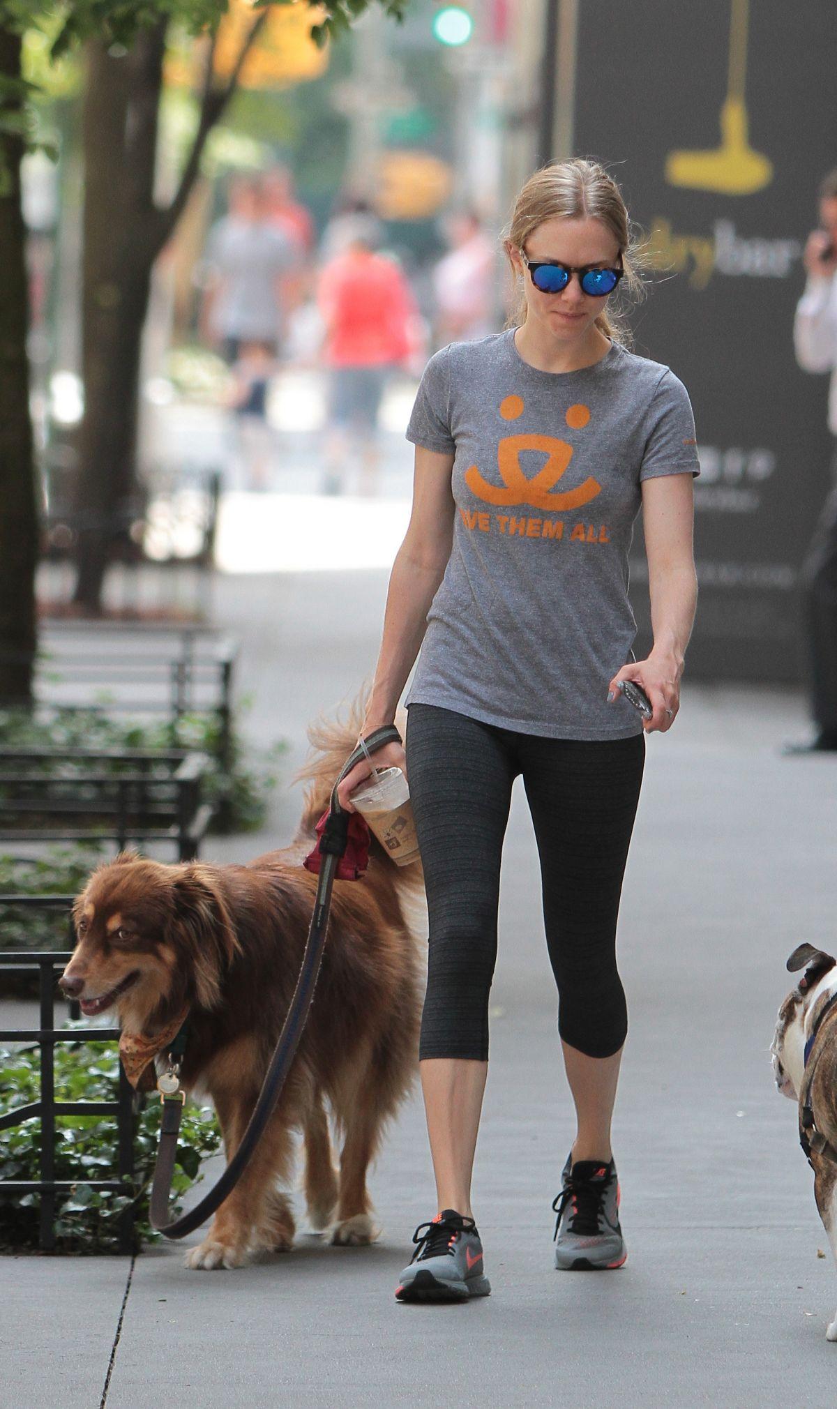 AMANDA SEYFRIED Walks Her Dog Out in New York 07/28/2015