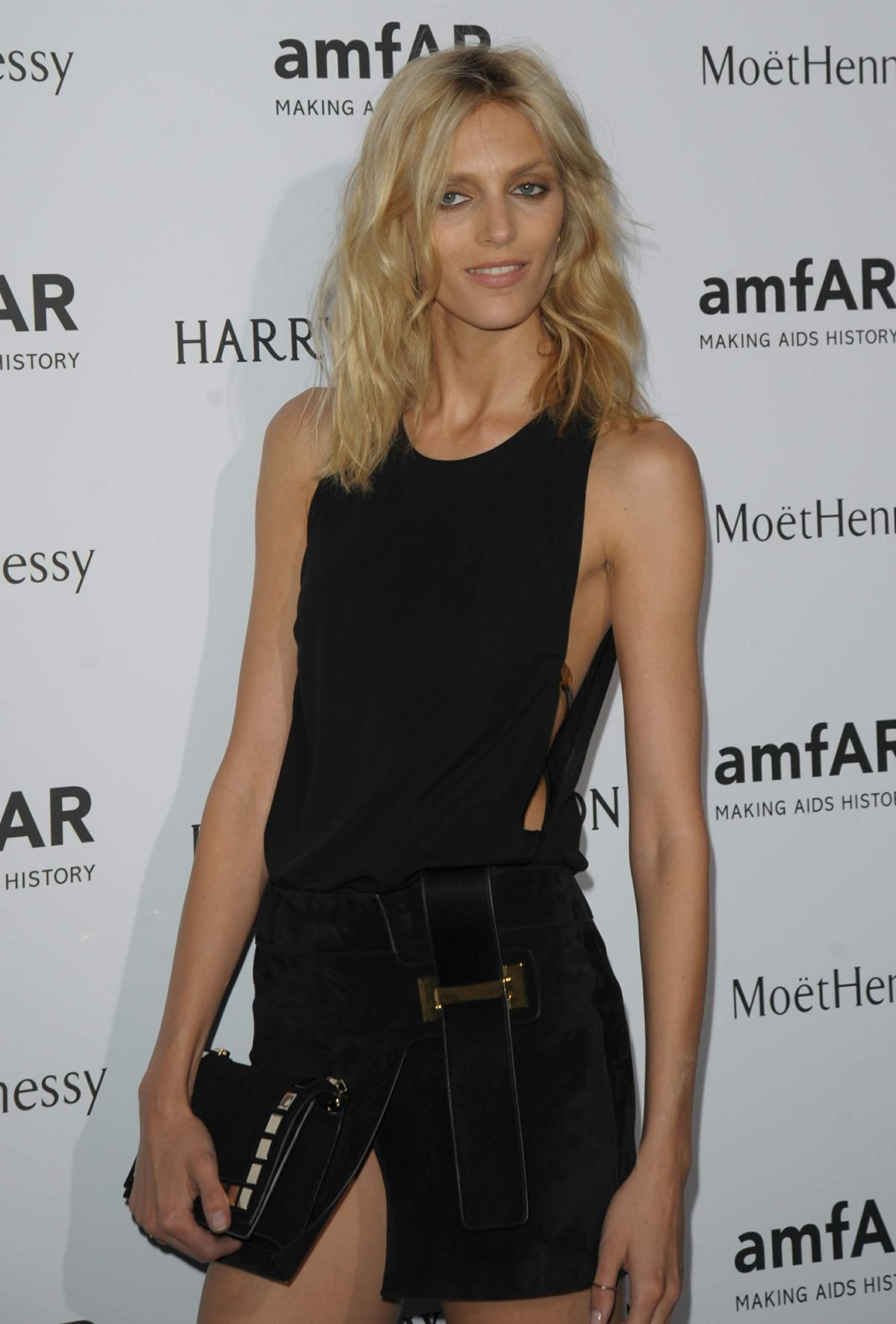 ANJA RUBIK at Amfar Dinner at Paris Pashion Week