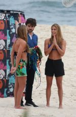 BIA and BRANCA FERES, Brazilian Synchronized Swimmers in Bikinis on the Set of a Photoshoot