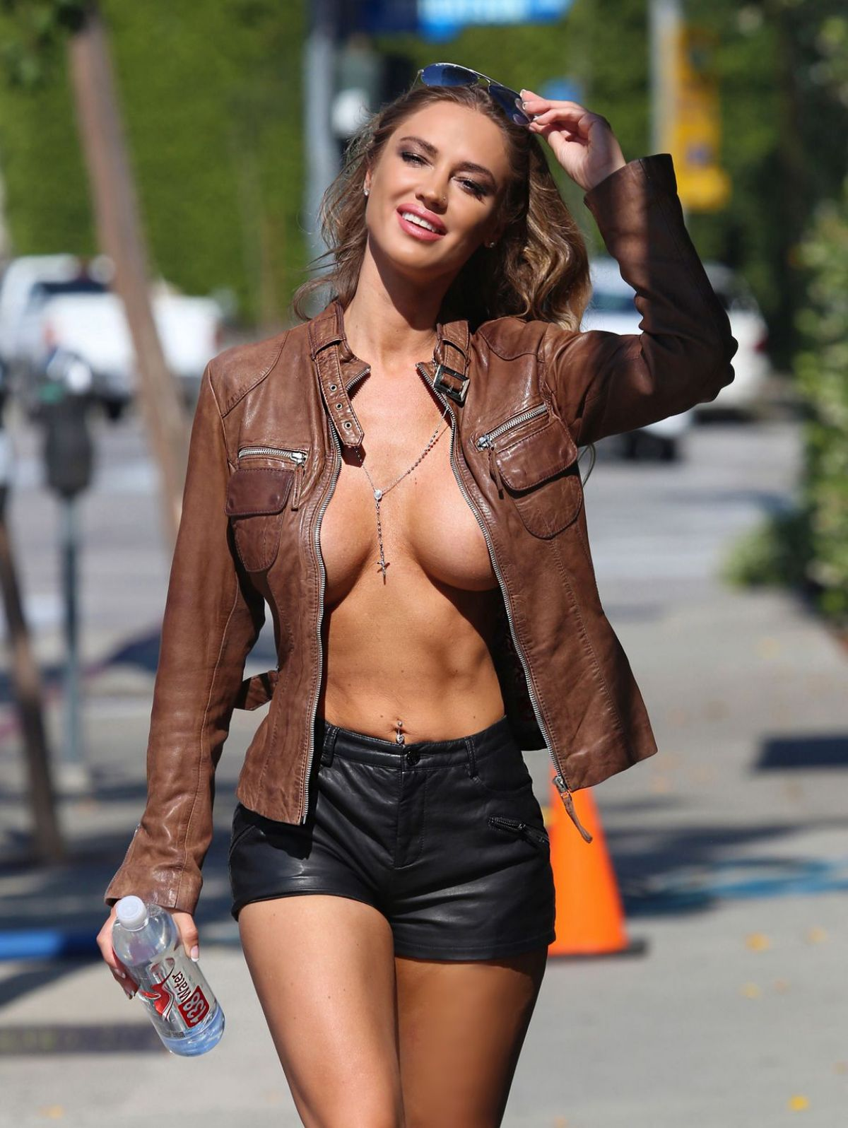 jeans Girls jacket leather in and topless
