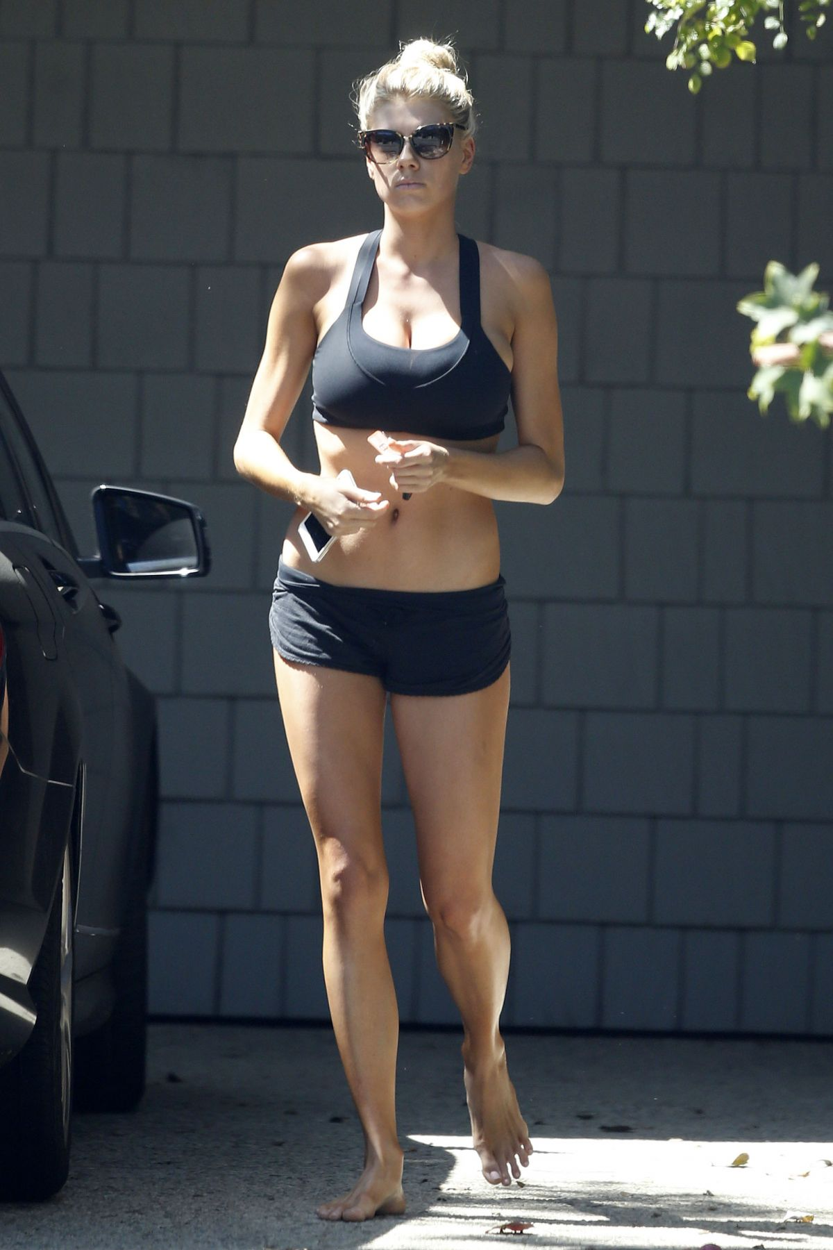 Charlotte Mckinney In Sport Bra And Shorts Leaves A Gym In