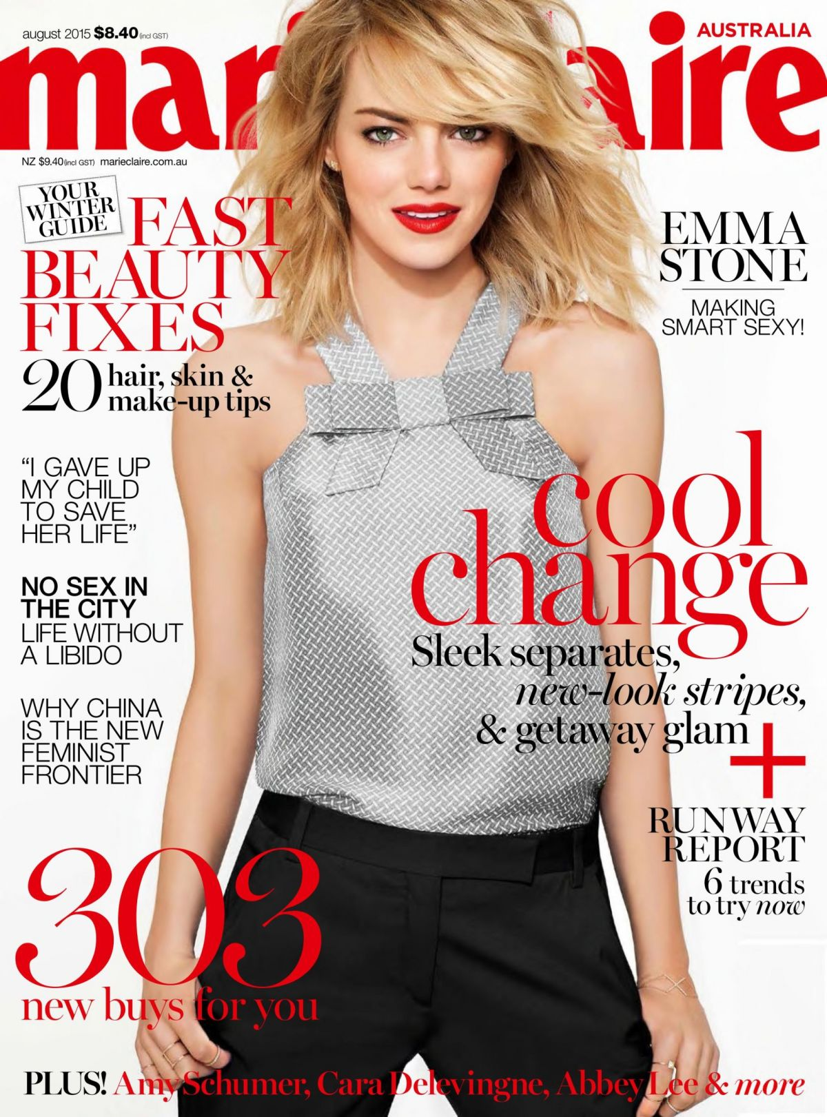 EMMA STONE in Marie Claire Magazine, Australia August 2015 Issue