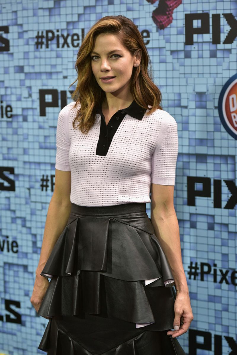 MICHELLE MONAGHA at Pixels Premiere in New York