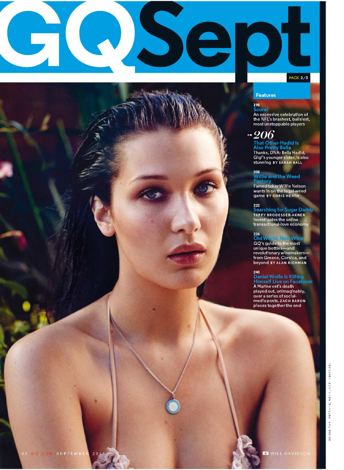 BELLA HADID in GQ Magazine, September 2015 Issue