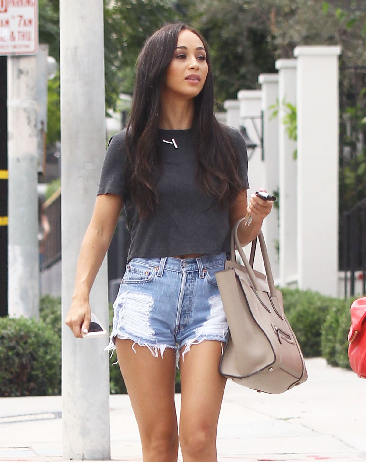 CARA SANTANA in Denim Shorts Out nd About in Los Angeles 08/03/2015