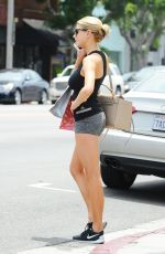 CHARLOTTE MCKINNEY in Shorts Out in Los Angeles 08/03/2015