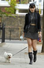 DAISY LOWE Walks Her Dog Out in London 08/04/2015