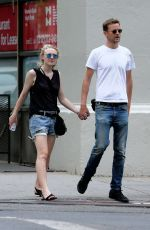 DAKOTA FANNING and Jamie Strachan Out in New York 08/30/2015