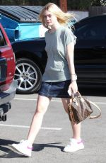 ELLE FANNING Arrives at a Hair Salon in Beverly Hills 08/24/2015