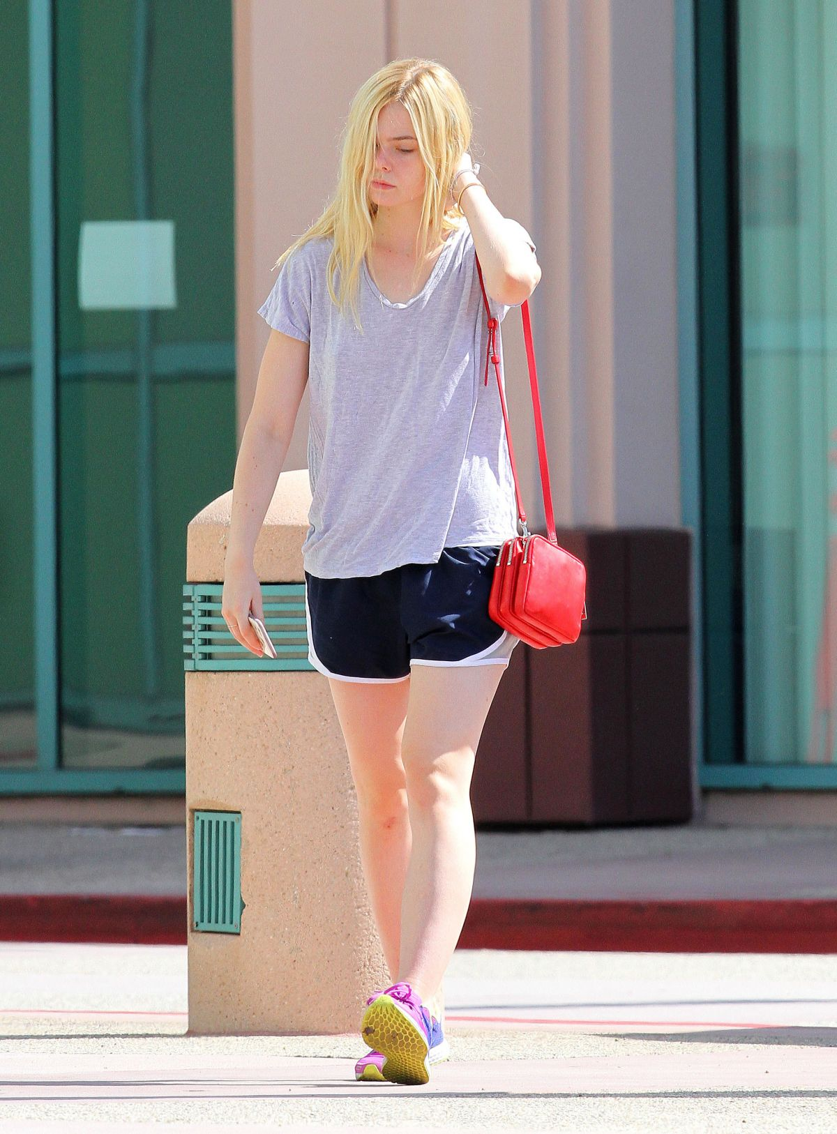 ELLE FANNING in SHorts Out in Studio City 08/08/2015