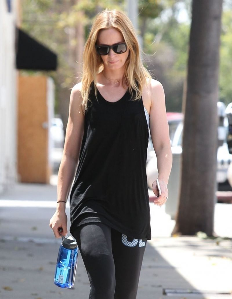 EMILY BLUNT Heading to a Gym in West Hollywood 08/05/2015