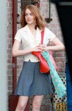 EMMA STONE on the Set of La La Land 08/26/2015