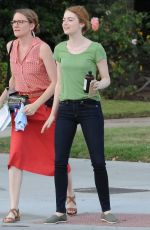 EMMA STONE on the Set of La La Land in Los Angeles 08/18/2015