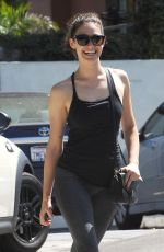 EMMY ROSSUM in Tights Arrives at a Gym in West Hollywood 08/24/2015