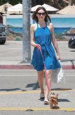 EMMY ROSSUM Walks Her Dog Out in Malibu 08/01/2015
