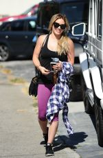 HILARY DUFF in Tights Arrives at a Gym in West Hollywood 08/14/2015