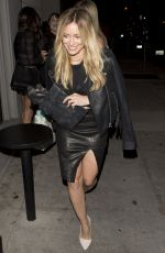HILARY DUFF Out for Dinner in West Hollywood 08/04/2015