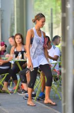 JESSICA ALBA in Leggings Out in West Hollywood 08/30/2015