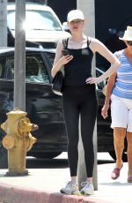 KAREN GILLAN in Tights Out and About in West Hollywood 08/19/2015