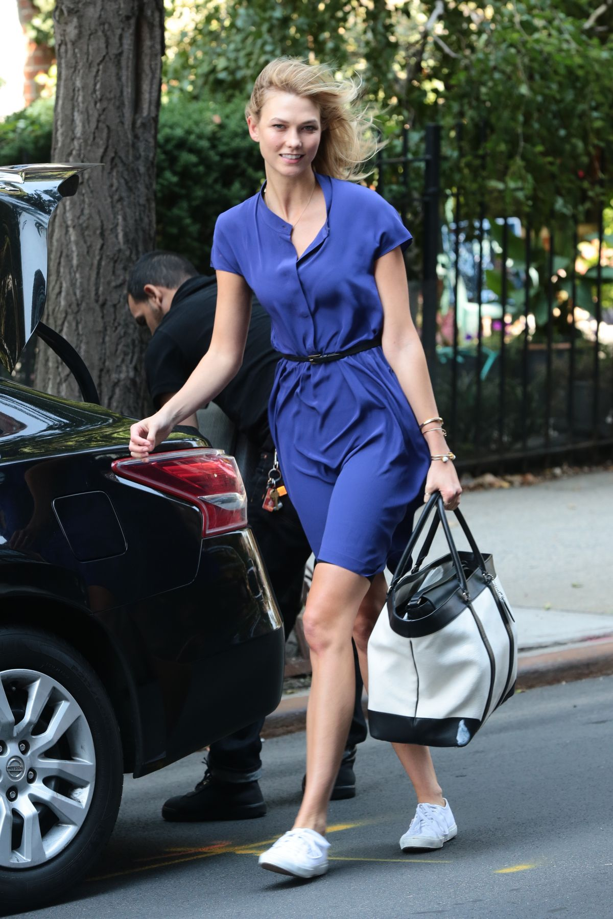 KARLIE KLOSS Out and About in New York 08/24/2015