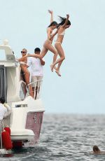 KYLIE and KENDALL JENNER and HAUKEY BALDWIN in Bikinis at a Boat in Punta Mita 08/12/2015