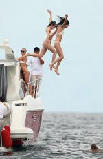 KYLIE JENNER in Bikini on a Boat with Friends and Sister in Punta Mita