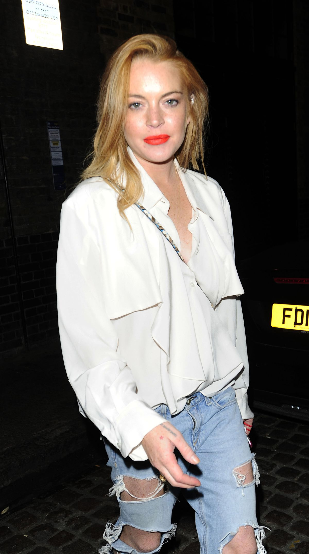 LINDSAY LOHAN at Chiltern Firehouse in London 08/10/2015 - HawtCelebs ...