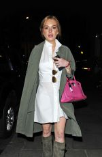 LINDSAY LOHAN Out for Dinner in London 08/12/2015
