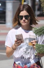 LUCY HALE in Shorts Out in Beverly Hills 08/12/2015