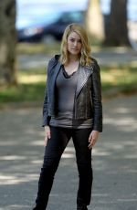 MEGAN BOONE on the Set of The Blacklist in New York 08/28/2015