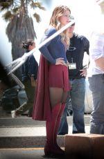 MELISSA BENOIST on the Set of Supergirl in Los Angeles 08/18/2015