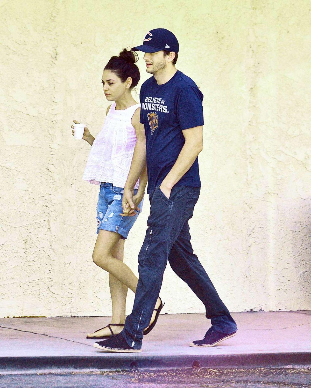 MILA KUNIS and Ashton Kutcher at a Spa in Studio City 08/05/2015