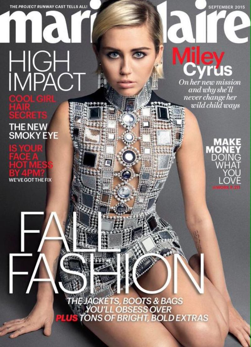 MILEY CYRUS in Marie Claire Magazine, September 2015 Issue