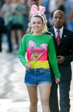 MILEY CYRUS Leaves Jimmy Kimmel Live in Los Angeles 08/26/2015
