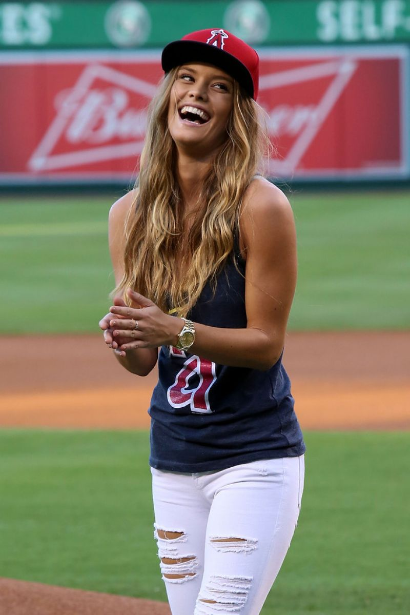 NINA AGDAL at Angel Stadium in Anaheim 08/17/2015
