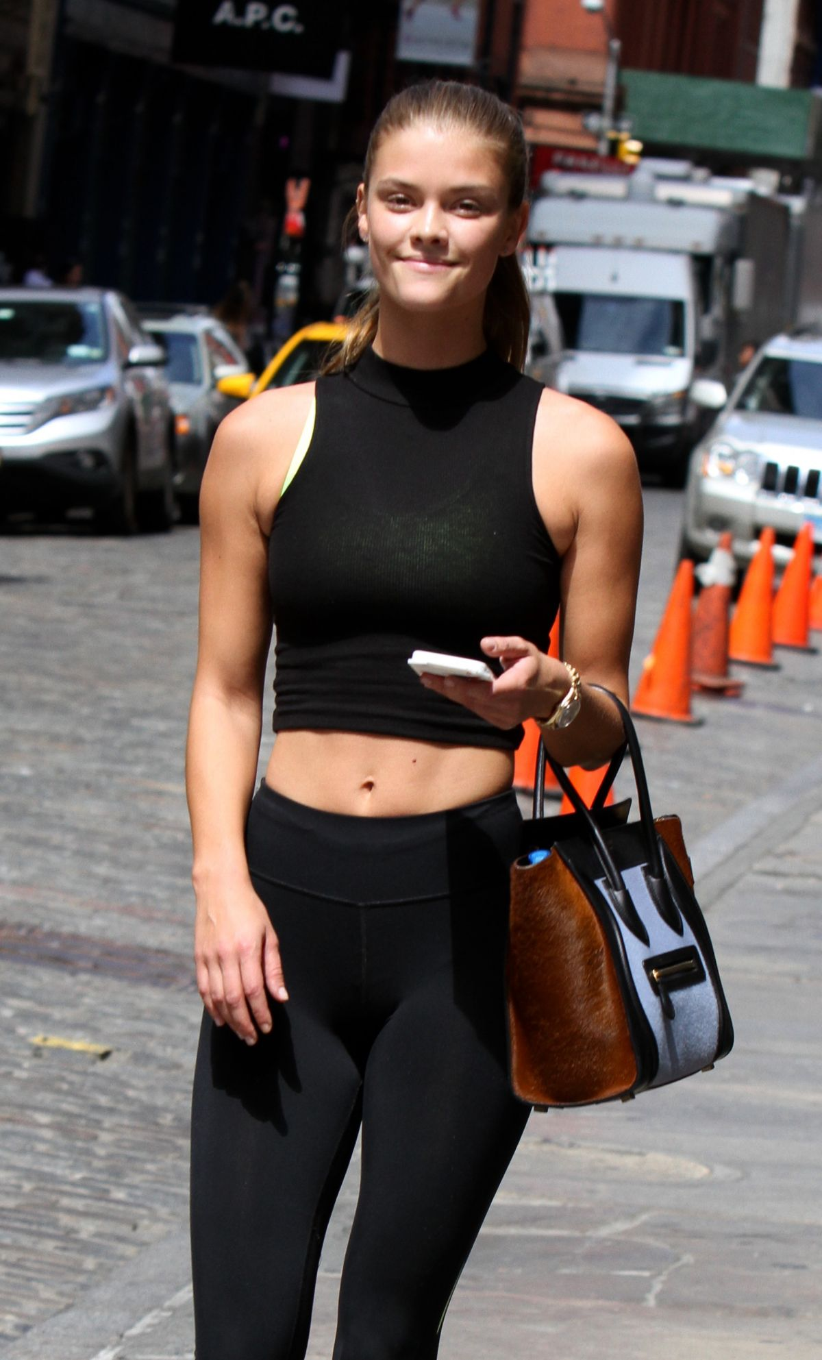 NINA AGDAL in Leggings heading to a Gym in Manhattan 08/06/2015