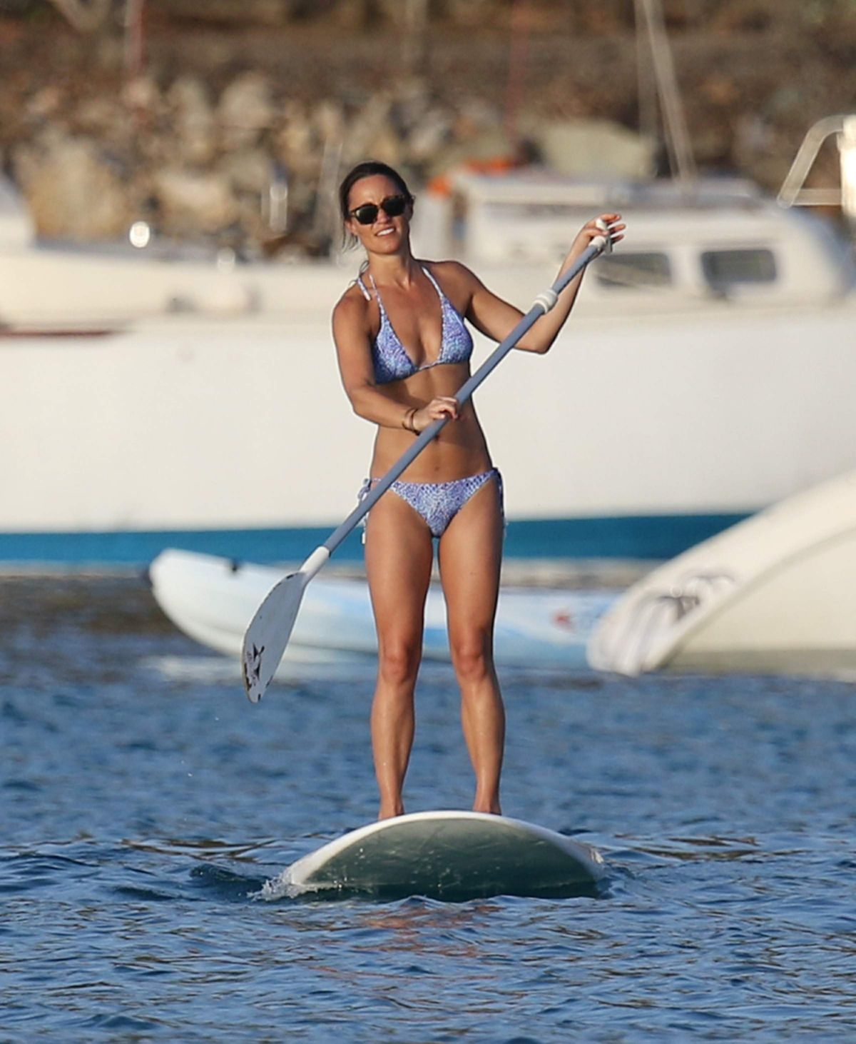 PIPPA MIDDLETON in Bikini Paddleboarding in St. Barths 08/21/2015