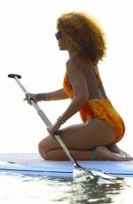 RIHANNA in Swimsuit Paddleboarding in Barbados 08/05/2015